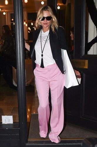 pants pink pants kate moss model celebrity top white top wide-leg pants blazer black blazer necklace sunglasses black sunglasses