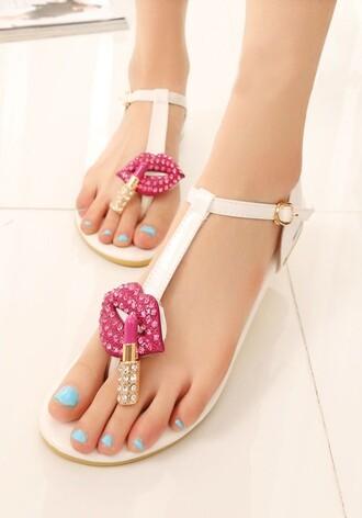 flat sandals lips lipstick women shoes