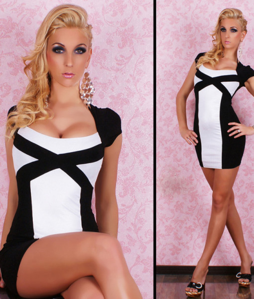 Freeshiping 2013 New Arrival Women Sexy White and Black Patchwork Sheath Party Clubwear Mini Dress 8521 | Amazing Shoes UK