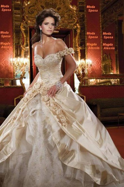 Dress: wedding dress, gold, roses, wedding, white, ballgown ...
