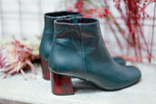 shoes,green,leather boots,ankle boots