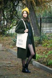 coat,yellow beanie,white bag,dark green coat,polka dot tights,ankle boots,blogger