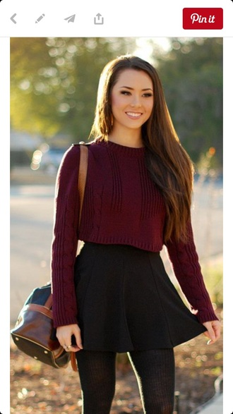 sweater crop burgundy cropped cropped sweater fall outfits