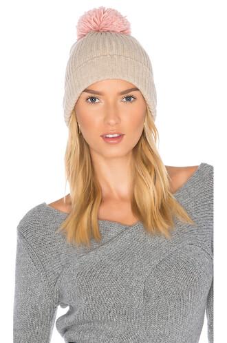 beanie knit beige hat