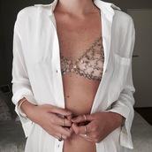 underwear,tumblr,bralette,silver,white shirt,ring,bracelets,sexy,metallic,body chain,silver jewelry