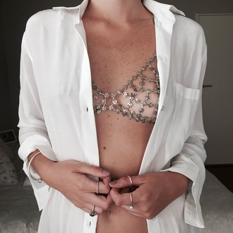 underwear tumblr bralette silver white shirt ring bracelets sexy metallic body chain silver jewelry