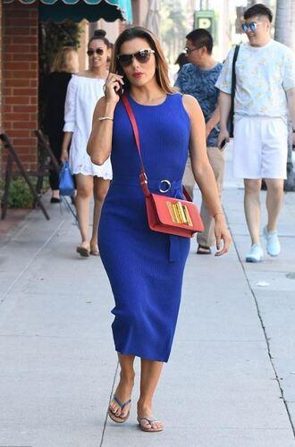 bag blue blue dress midi dress eva longoria shoes