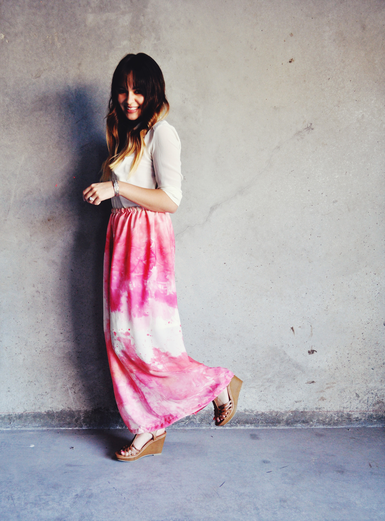 Watercolor hand dyed silk maxi skirt in Peony from Bachman's Sparrow on Storenvy