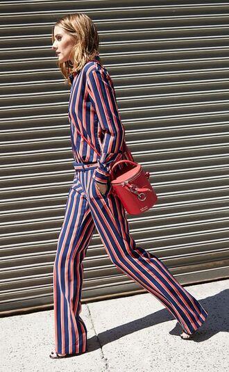 bag purse stripes striped pants olivia palermo editorial blogger blouse