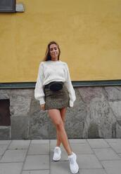 kenza,blogger,skirt,sweater,bag,shoes,white sweater,belt bag