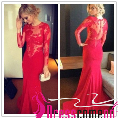 Wholesale red prom dress mermaid long sleeve lace skirt sexy evening dresses · dresscomeon · online store powered by storenvy
