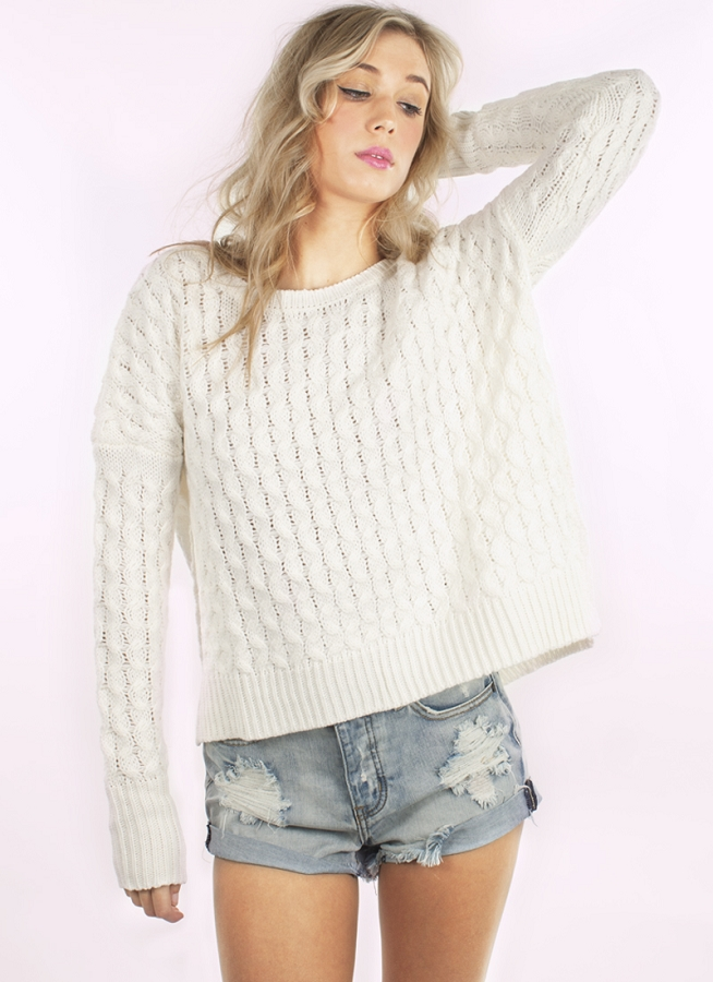 white Sweater - Ivory Long Sleeve Cable Knit | UsTrendy