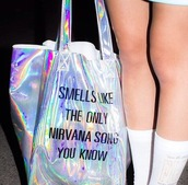 bag,holographic,lovely,friends,music,style,nirvana,socks,smells like the only nirvana song you know,smells like teen spirit,rad,cool bag,nirvana bag,grunge,90s style,band merch,punk,rainbow,tumblr,pastel grunge