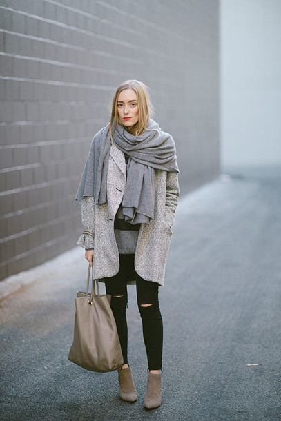 eat sleep wear blogger grey coat blanket scarf leather bag ripped jeans