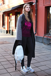 white rabbit dreams,blogger,black jeans,kenzo,grey coat,backpack,nike shoes,back to school,white backpack,long coat,kenzo sweater,sweatshirt,leggings,black leggings,sneakers,nike,blue sneakers,burgundy sweater,grey sneakers,graphic sweatshirt
