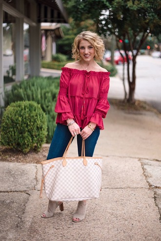 something delightful blogger top shoes jewels louis vuitton bag red top fall outfits booties