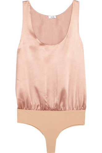bodysuit silk satin blush underwear
