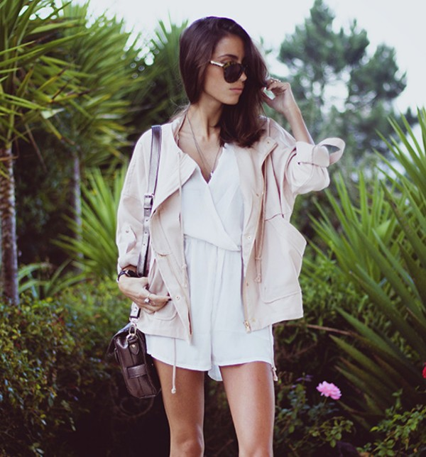 jumpsuit white romper pastel jacket swag bag streetstyle stylemoi ring accessories summer outfits