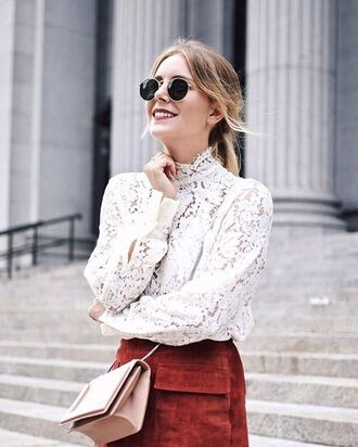 tumblr white shirt lace shirt long sleeves lace sunglasses bag crossbody bag pink bag lace blouse pocket skirt fall colors fall skirt suede skirt white lace college