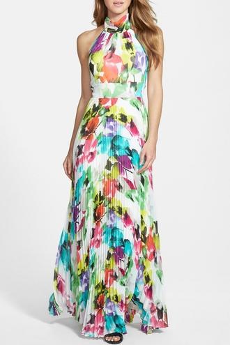 dress vestidos floral dress maxi dress halter dress multicolor boho boho chic zaful maxi colorful long dress floral open back