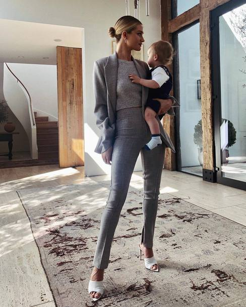 Blazers In Statham: Top, Rosie Huntington-whiteley, Model Off-duty, Mules
