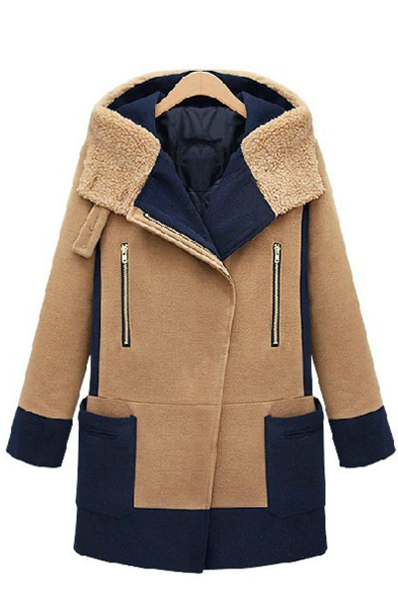 Winter Section Ladies Slim Splicing Hooded Woolen Overcoat,Cheap in Wendybox.com