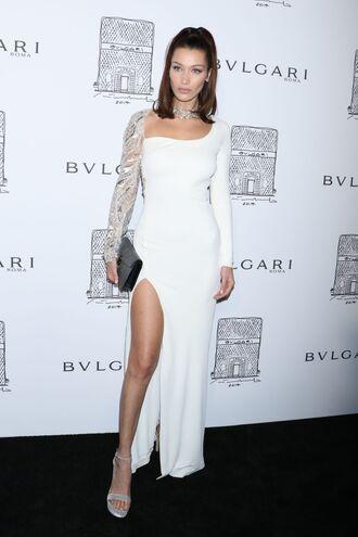 dress asymmetrical asymmetrical dress gown prom dress slit bella hadid model off-duty sandals clutch shoes