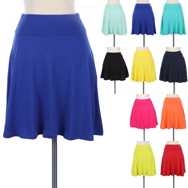 Foldover Waistband Solid Skater Skirt A Line Flare Cute Cotton Spandex s M L | eBay