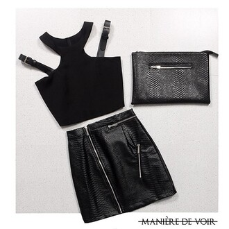 skirt maniere de voir black mini skirt snake embossed python