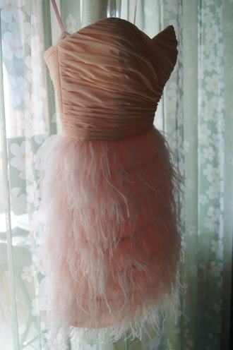 dress feather dress prom dress prom gown party dress homecoming dress pink dress short feather dress feathers