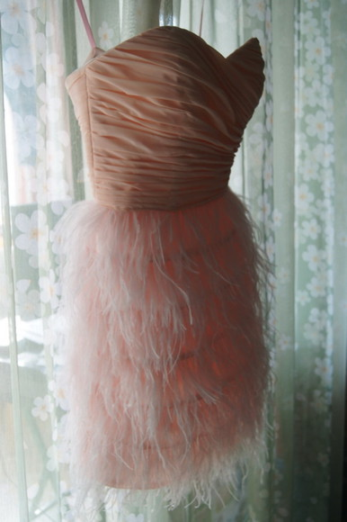dress prom dress party dress feathers feather dress prom gown homecoming dress pink dress short feather dress