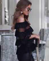 blouse,tumblr,top,black top,ruffled top,pan,black blouse,see through,see through top,ruffle,off the shoulder,off the shoulder top,pants,black pants,sunglasses,earrings,accessories,Accessory