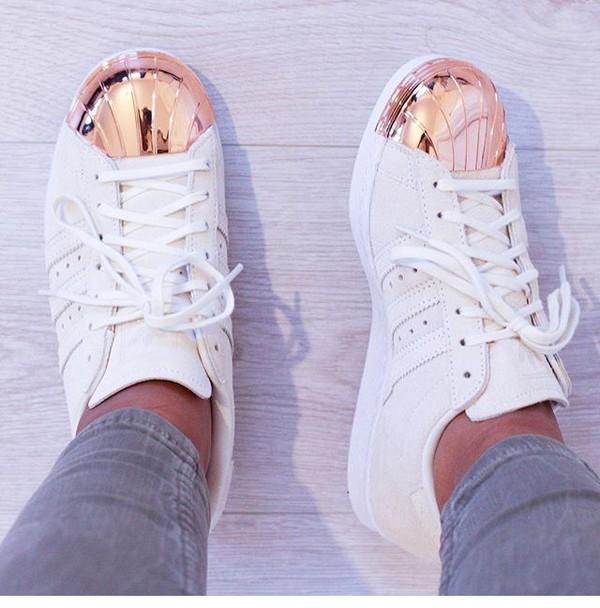 ... adidas originals superstar 80s rose gold metal toe cap sneakers ...