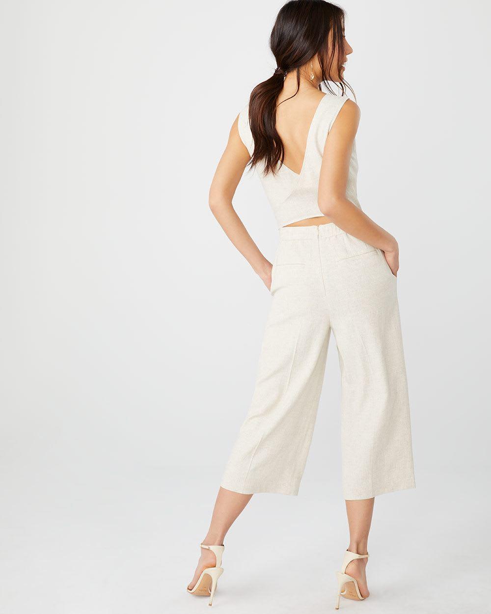 Crossover back Crop leg linen-blend jumpsuit | RW&CO.