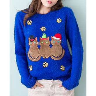 sweater blue knitwear christmas winter sweater sweet ugly christmas sweater cats cute