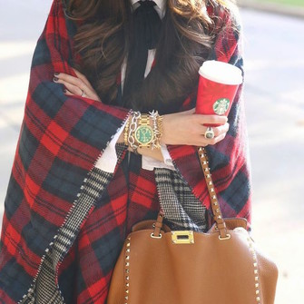 red scarf black plaid purse oversized hippie winter outfits fashion boho winter sweater winter jacket tartan scarf checkered watch streetstyle blanket scarf oversized sweater oversized cardigan oversized scarf tartan streetwear trendy indie bracelets hippie chic scarf red