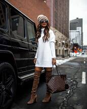 bag,louis vuitton bag,knee high boots,brown boots,heel boots,white sweater,knit,hat,shoes,boots,over the knee boots,brown bag,turtleneck dress
