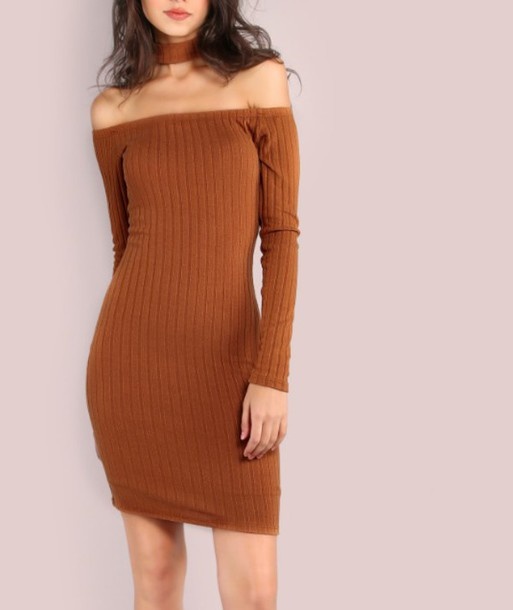 fee12d369cdb dress girl girly girly wishlist knit bodycon bodycon dress brown knitted dress  off the shoulder off