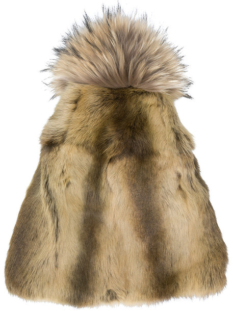 Liska fur fox women dog beanie pom pom beanie brown hat