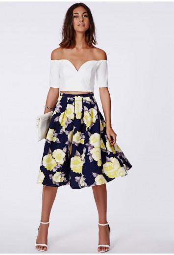 Gabriele full midi skirt in floral print navy