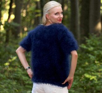 blouse hand knit made mohair sweater jumper supertanya blue angora alpaca cashmere wool soft fluffy