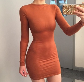 dress tight rust long sleeve dress