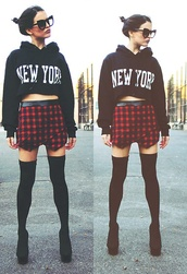 sweater,cropped hoodie,skorts,shoes