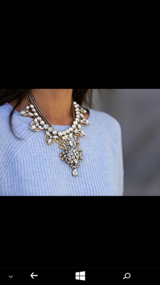 jewels j crew necklace blue sweater embellished embroidered white pearls jewelry gold jewelry spakley sparkle jewelry sivler