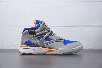 shoes reebok grey blue orange