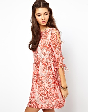 ASOS | ASOS Skater Dress In Paisley Print With Lace Up Sleeve at ASOS