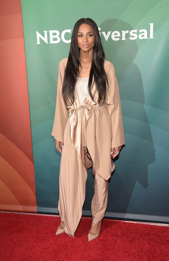 coat nude silk pants asymmetrical ciara
