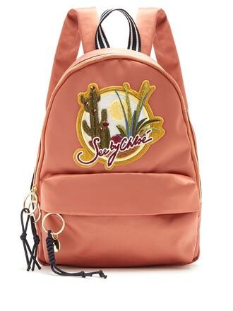 embroidered cactus backpack satin pink bag