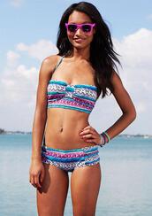 swimwear,midkini,tribal pattern,boyshorts,patterned swimwear,multicolor,dress,bikini,tribal bikini,cut-out swimsuit