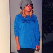 sweater,ashley benson,pretty little liars,enfants riches déprimés,sweatshirt,blue
